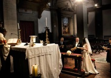 Catholic ceremony in Cortona church in Tuscany