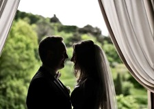 Portrait of bride and groom at Tuscany catholic wedding