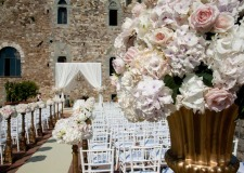 Outdoor wedding ceremony at Vincigliata Castle near Florence
