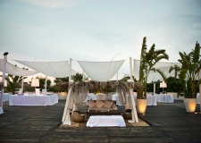 Outdoor wedding reception at Torre Coccaro in Puglia