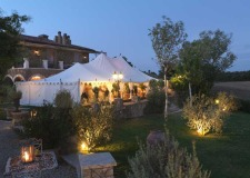 Marquee for wedding reception at Borgo Santo Pietro in Tuscany