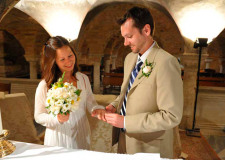 Catholic wedding ceremony in the crypt of St Mark's Basilica in Venice