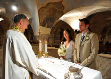 Catholic wedding rite in the crypt of St Mark's Basilica in Venice