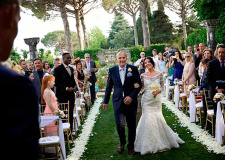 Arrival of the bride at outdoor Ravello wedding