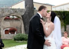 Bride and groom kissing at Ravello wedding