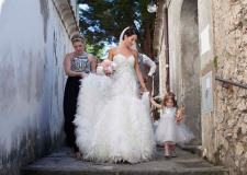 Arrival of the bride at wedding ceremony in Ravello