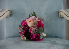Bridal bouquet in pink and fuchsia hues