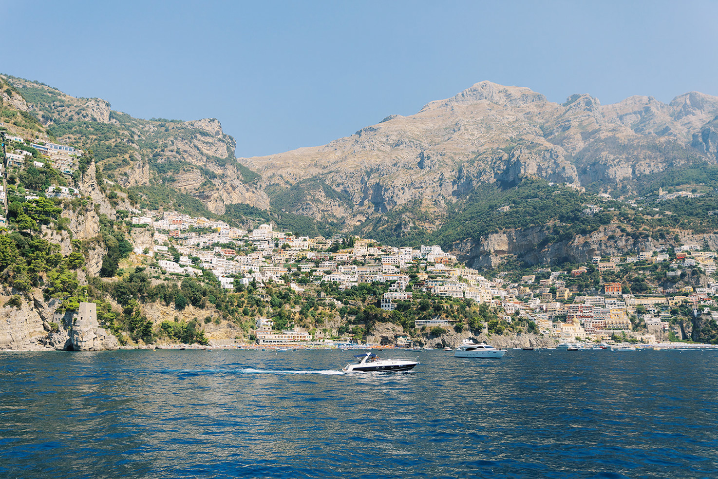 Panorama of Positano from the sea