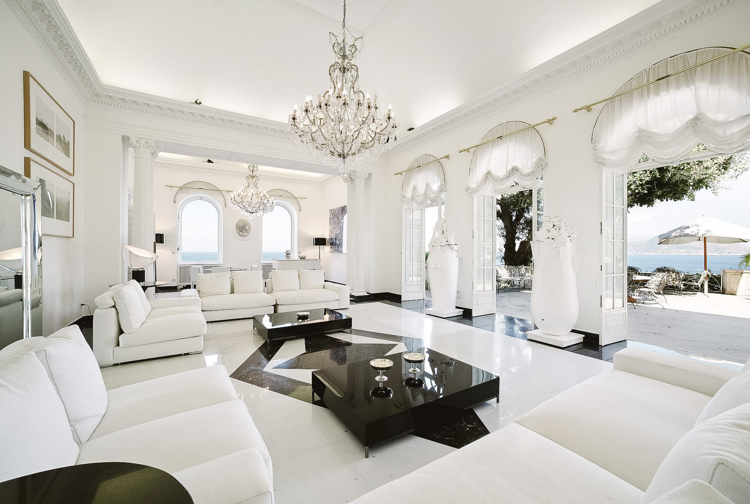White lounge with sea view