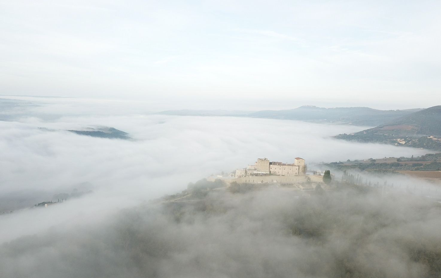 Aerial view of Castello di Velona, Tuscany