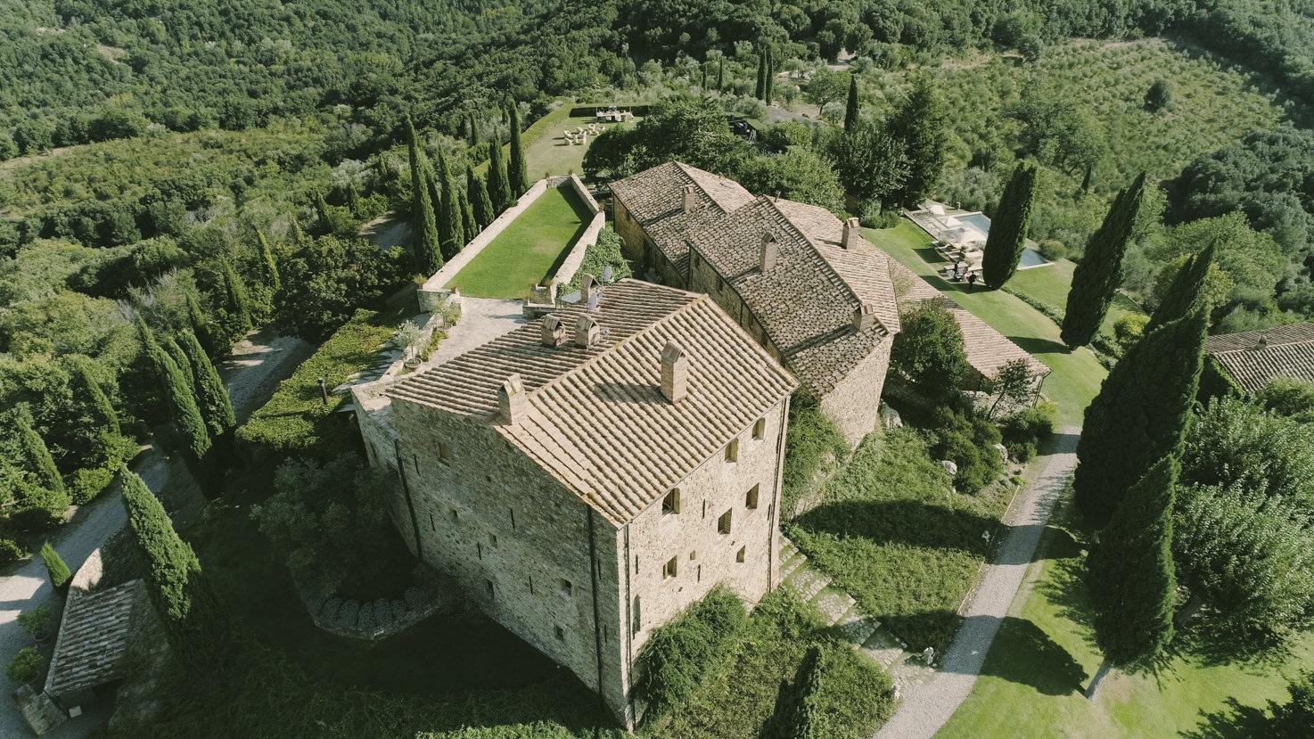 Aerial view of Castello di Vicarello