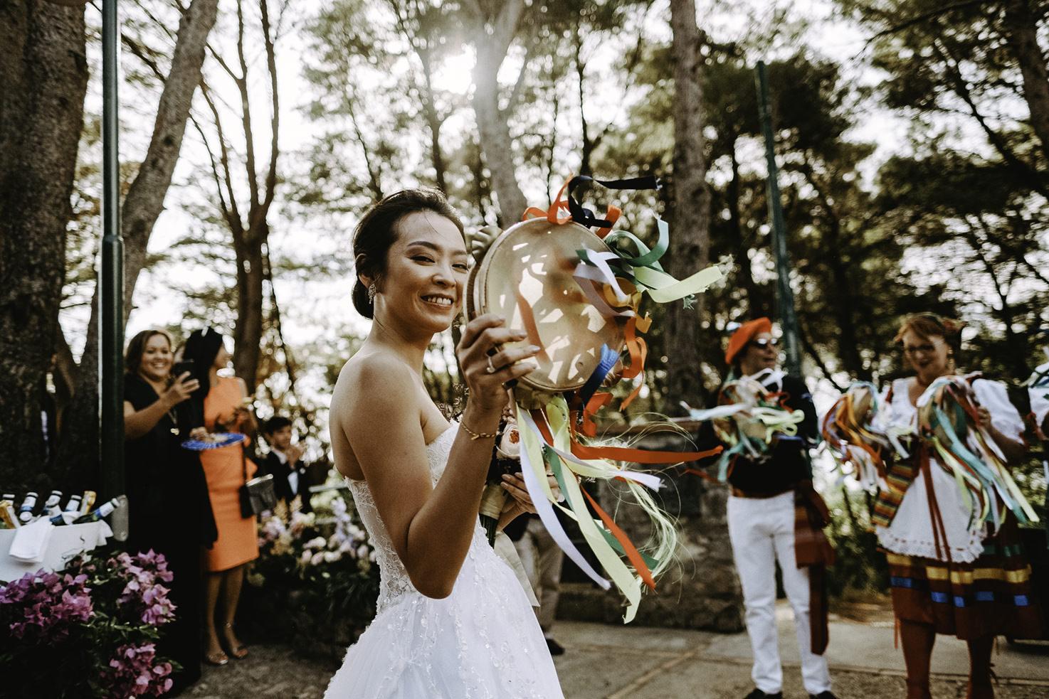 Bride and dancers in Capri