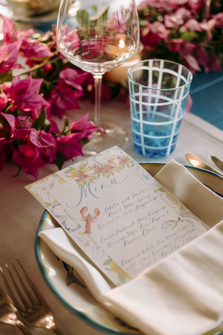 Watercolor menu