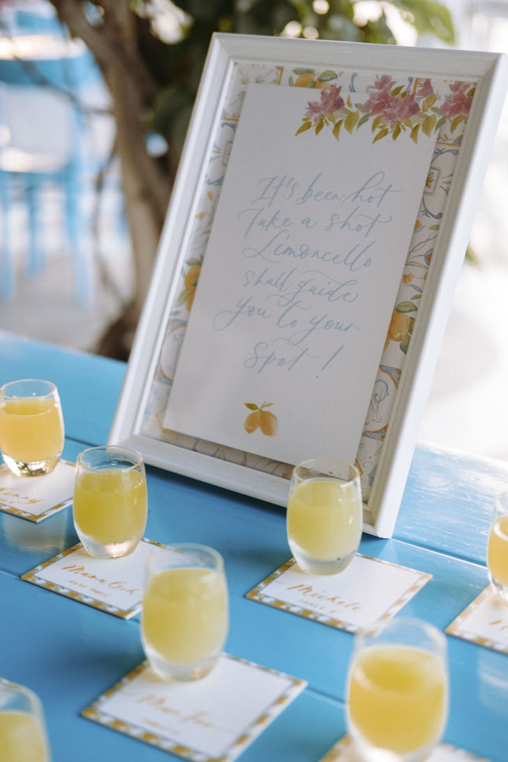Limoncello shots used as placecards