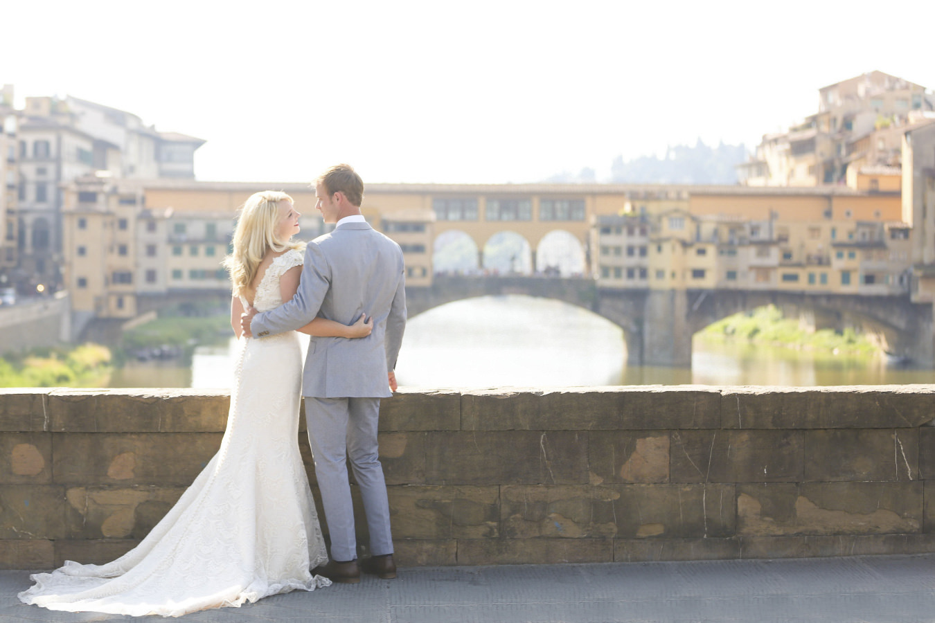 Bridal couple near Ponte Vecchio in Florence