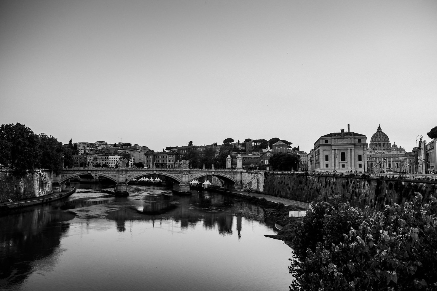 Ponte Sant'Angelo on the Tiber river in Rome