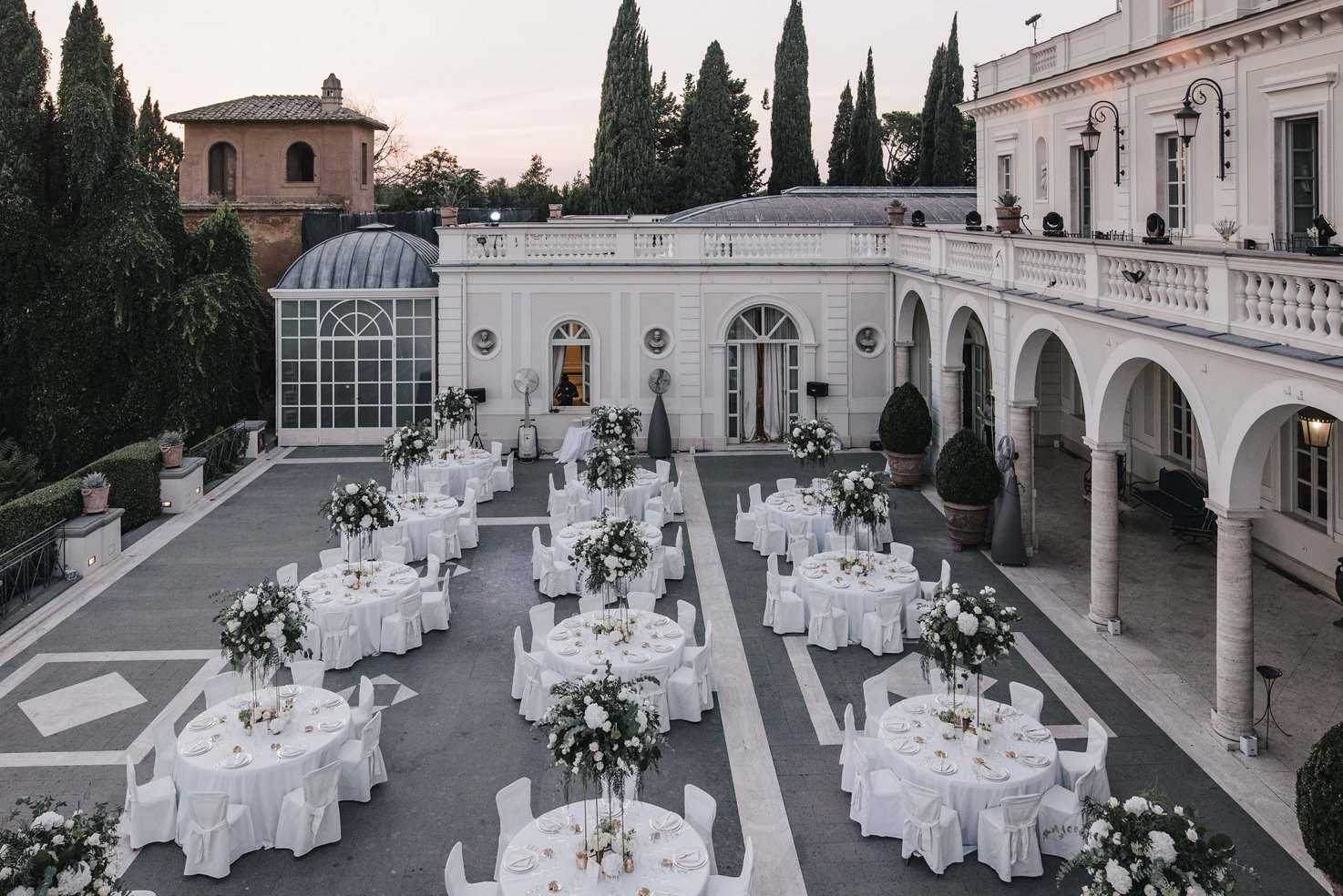 Overview of the wedding reception at Villa Miani, Rome