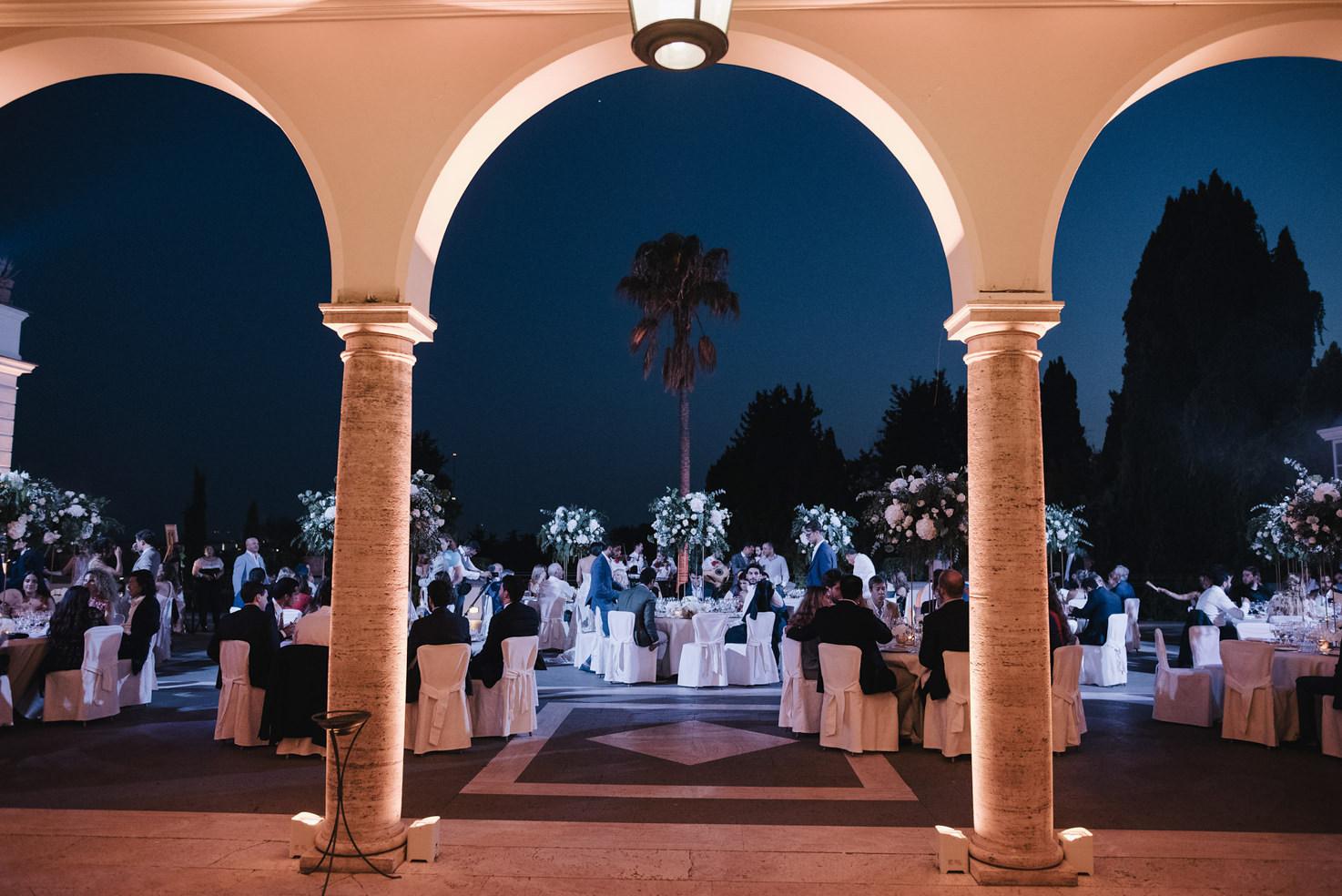 Wedding reception under the moon