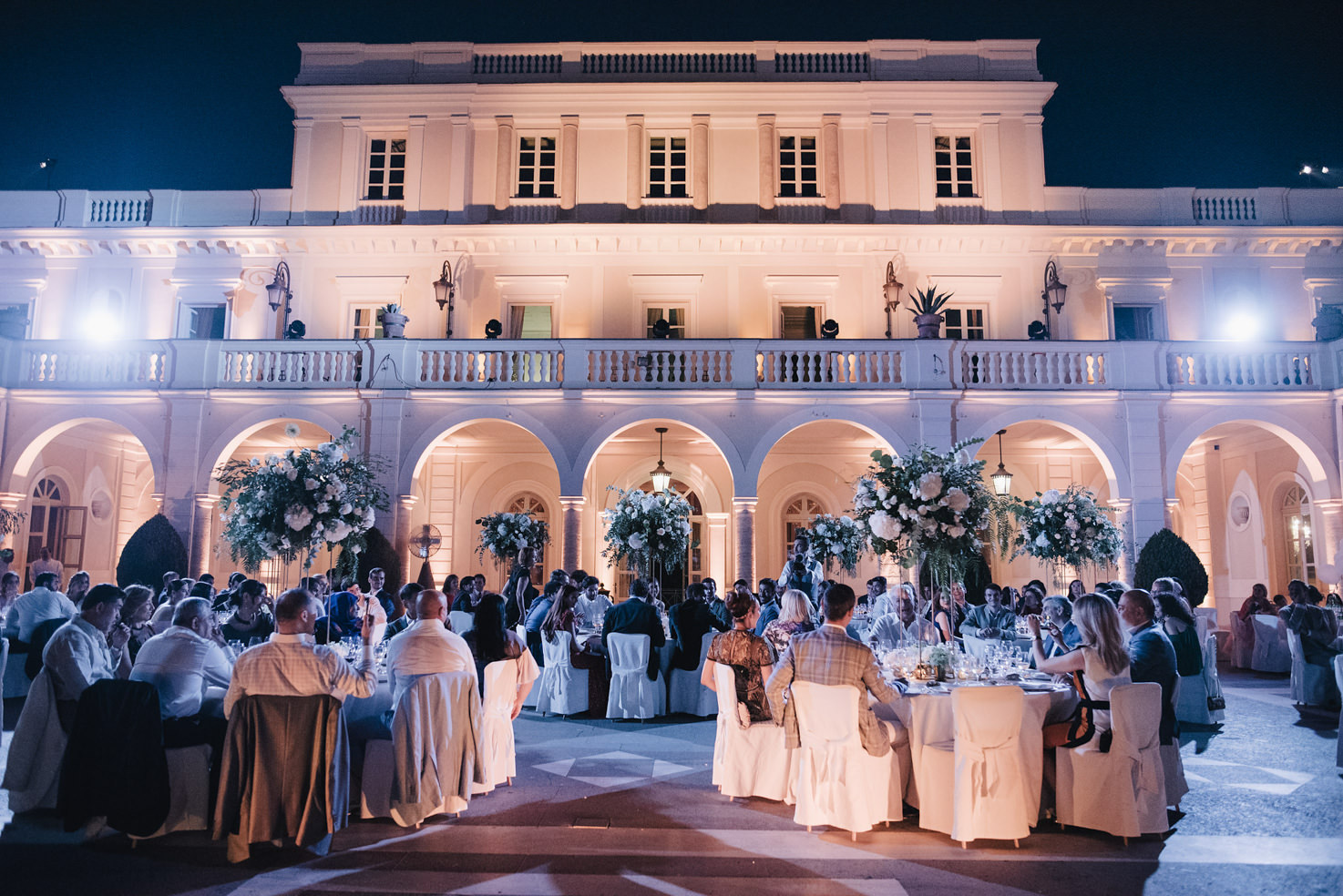 Wedding banquet on the patio of Villa Miani, Rome