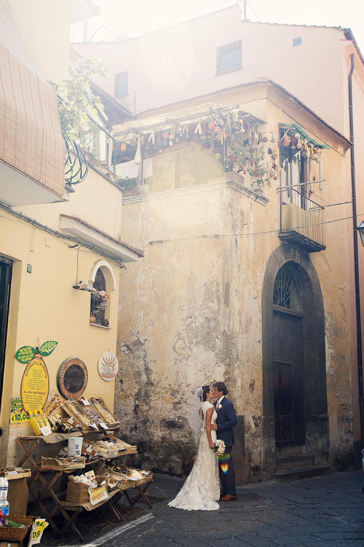 Bridal couple in the old streets of Sorrento