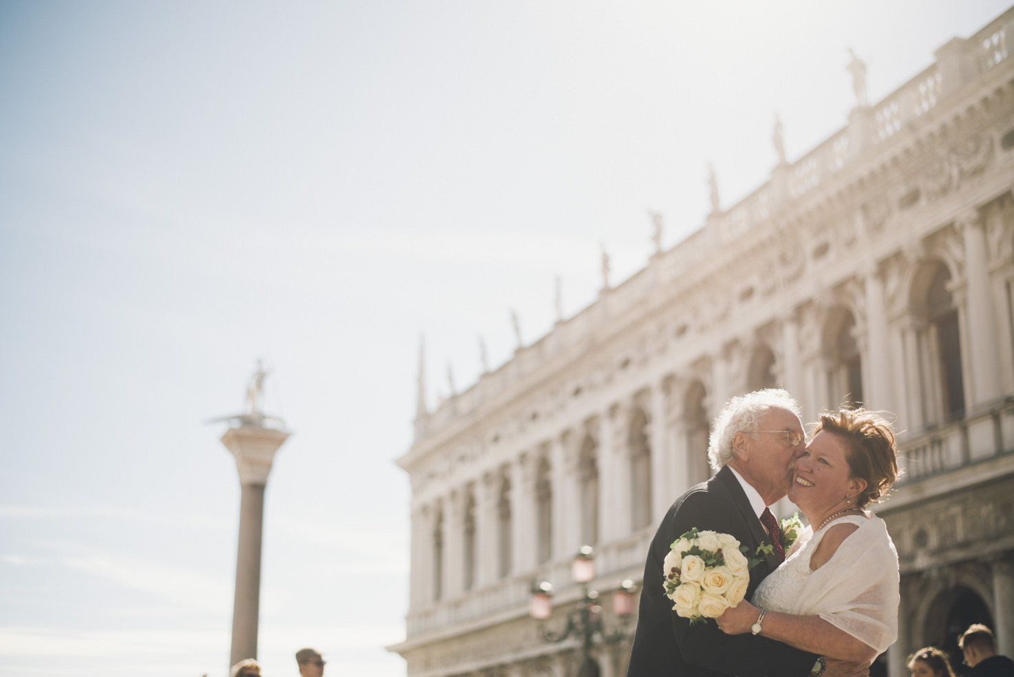 Bride and groom in St. Mark's Square