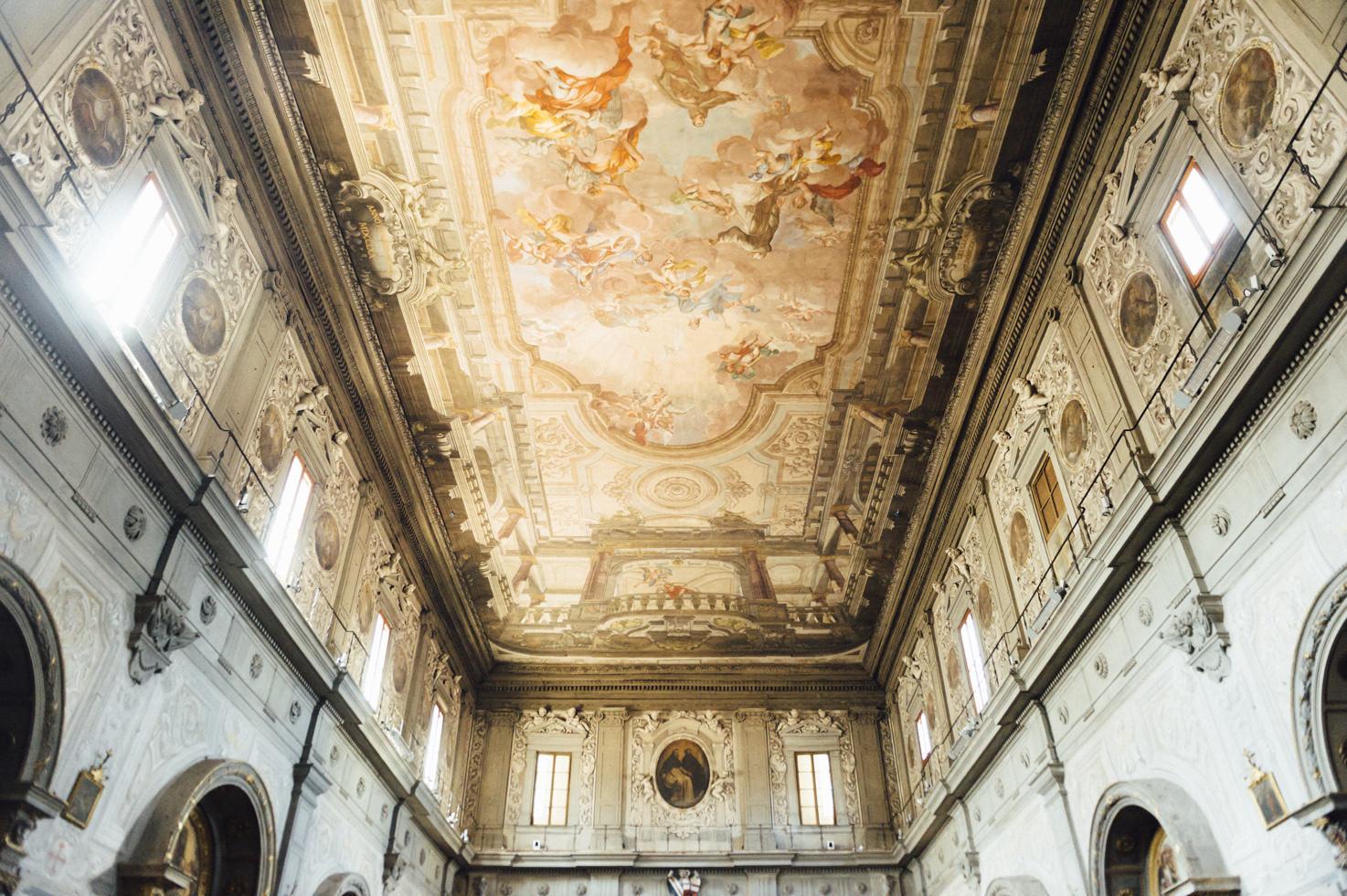 Frescoed ceiling of Chiesa di Ognissanti