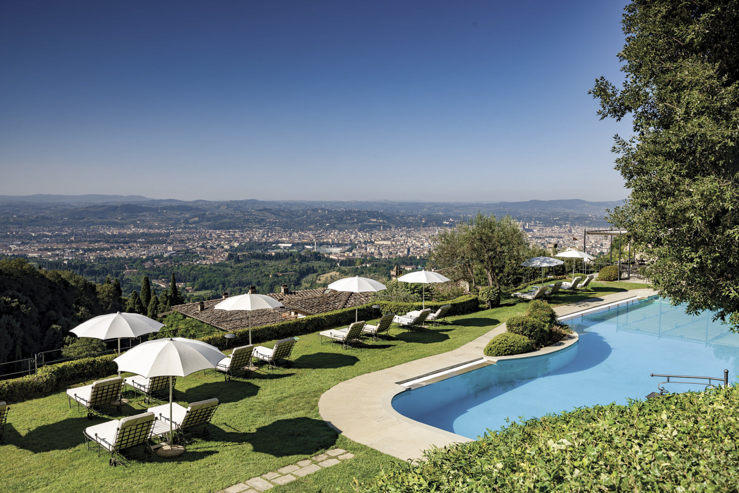 Garden pool with view over Florence