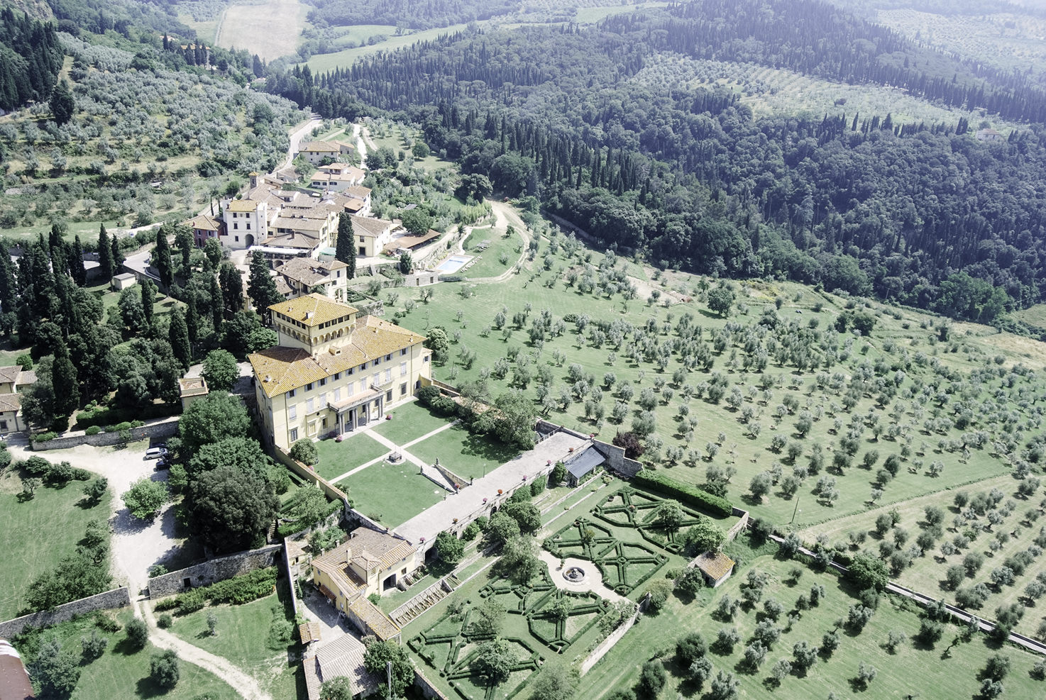 Aerial view of Villa di Maiano near Florence