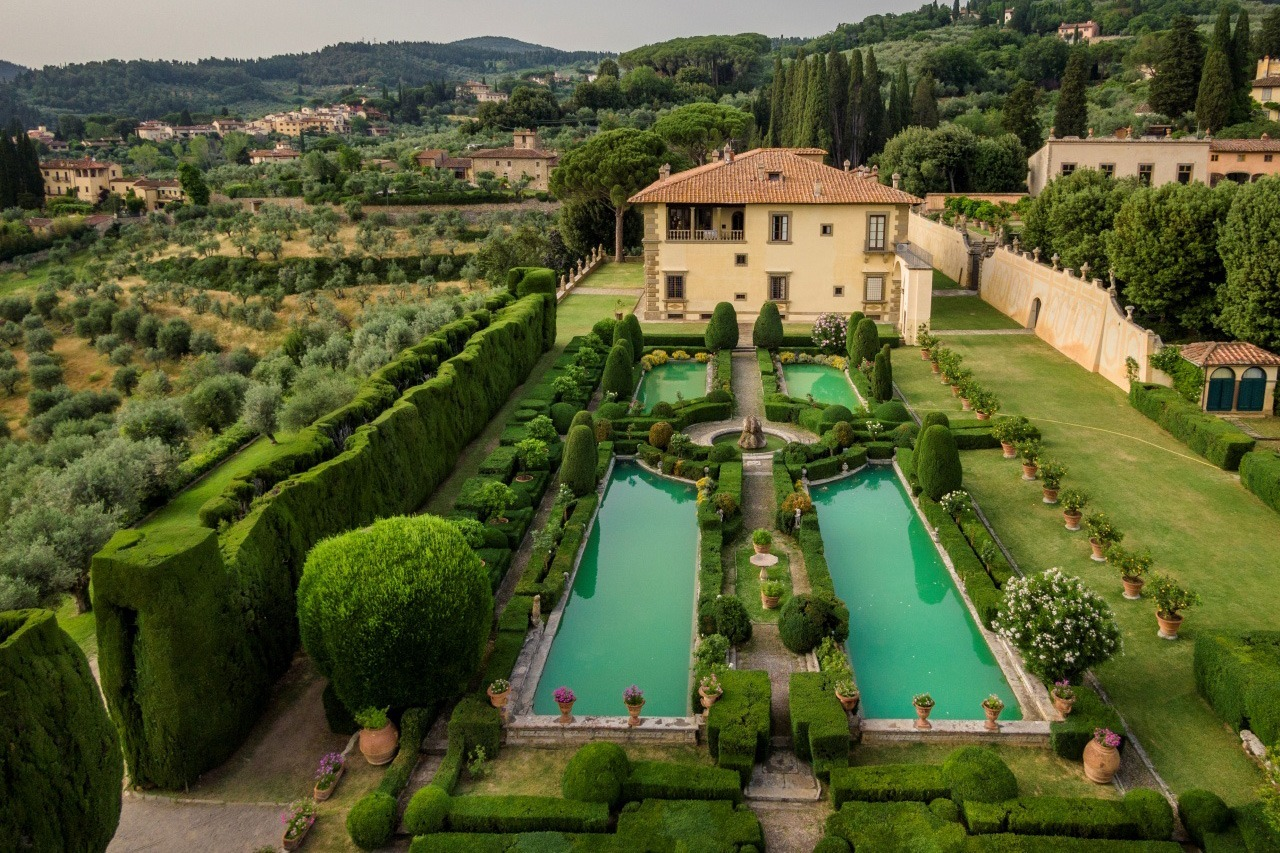 Aerial view of Villa Gamberaia, Florence