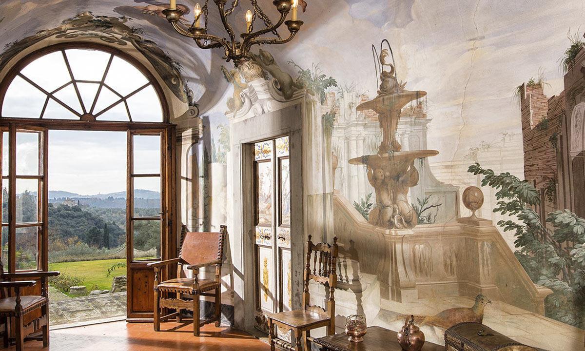 Frescoed hall inside Villa di Lilliano