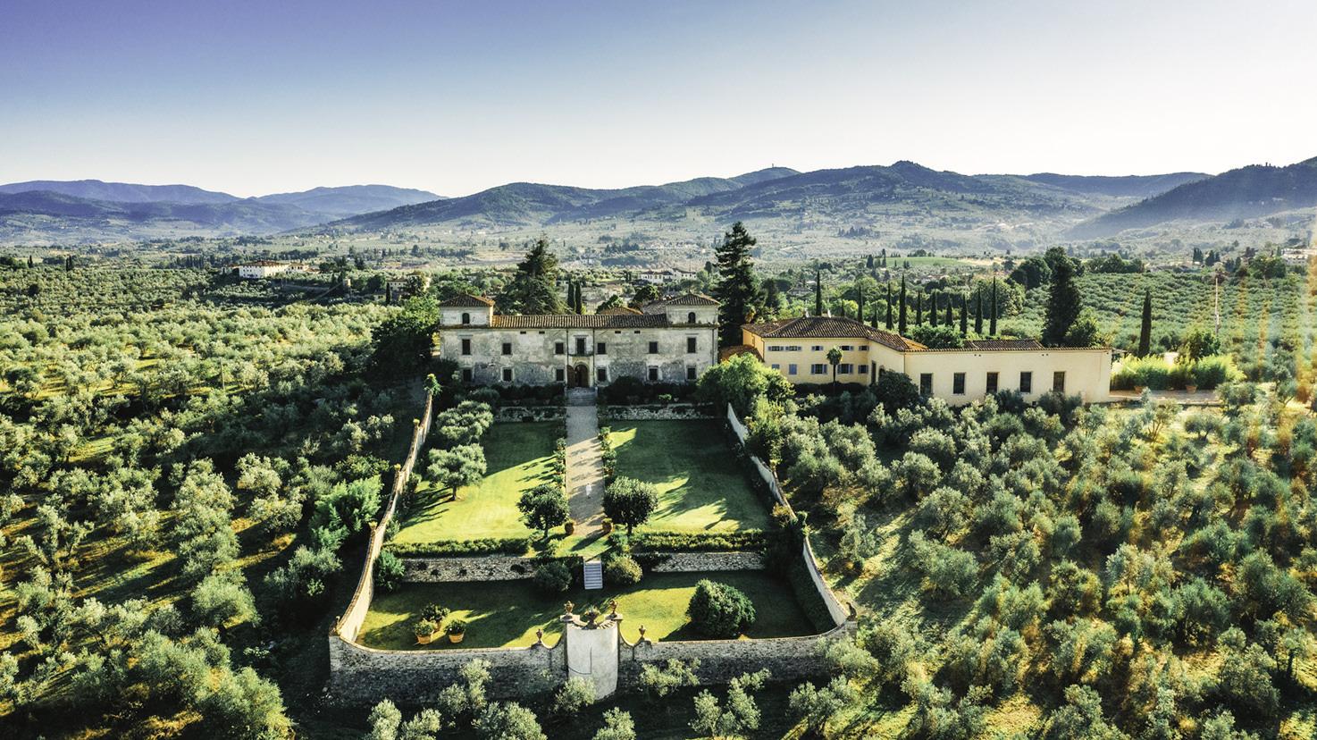 Aerial view of Villa Medicea di Lilliano, Florence