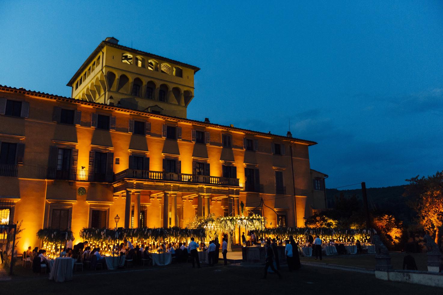 Façade of Villa di Maiano at night