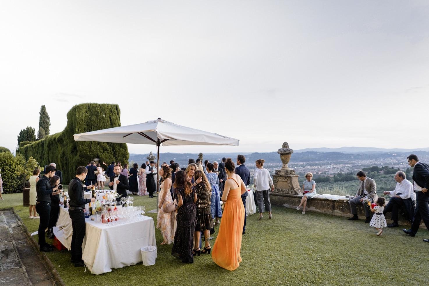 Wedding cocktail on the garden terrace