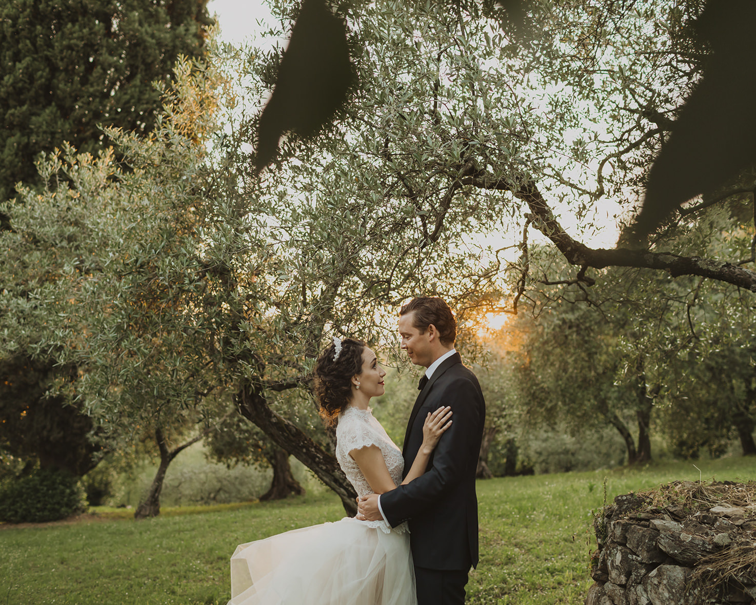 Bridal couple in the olive grove