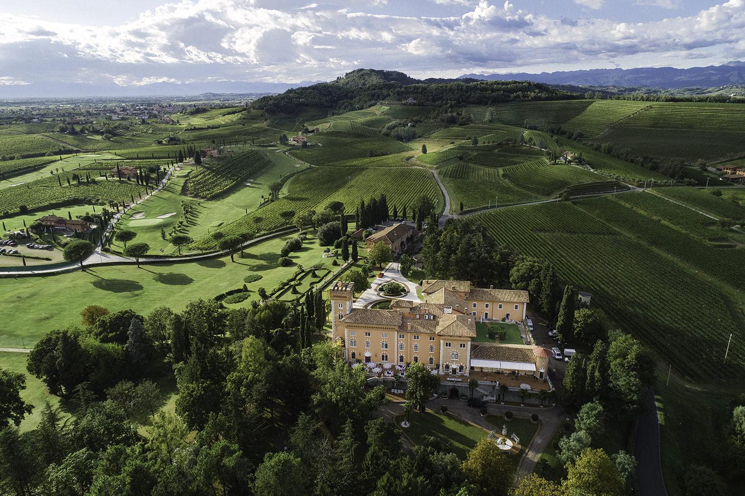 Aerial view of Castello di Spessa