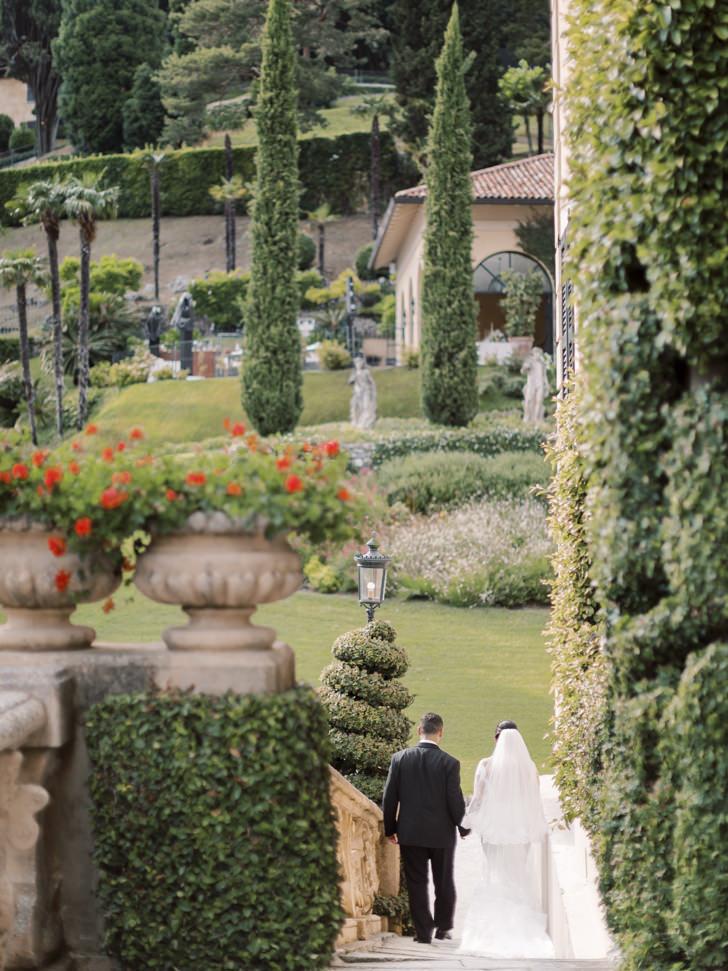 Bridal couple at Balbianello