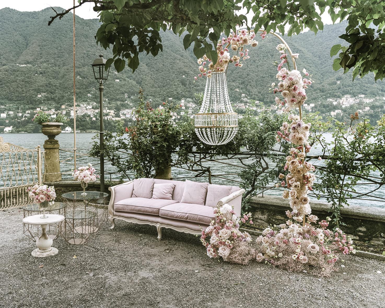 Garden setting for wedding aperitif