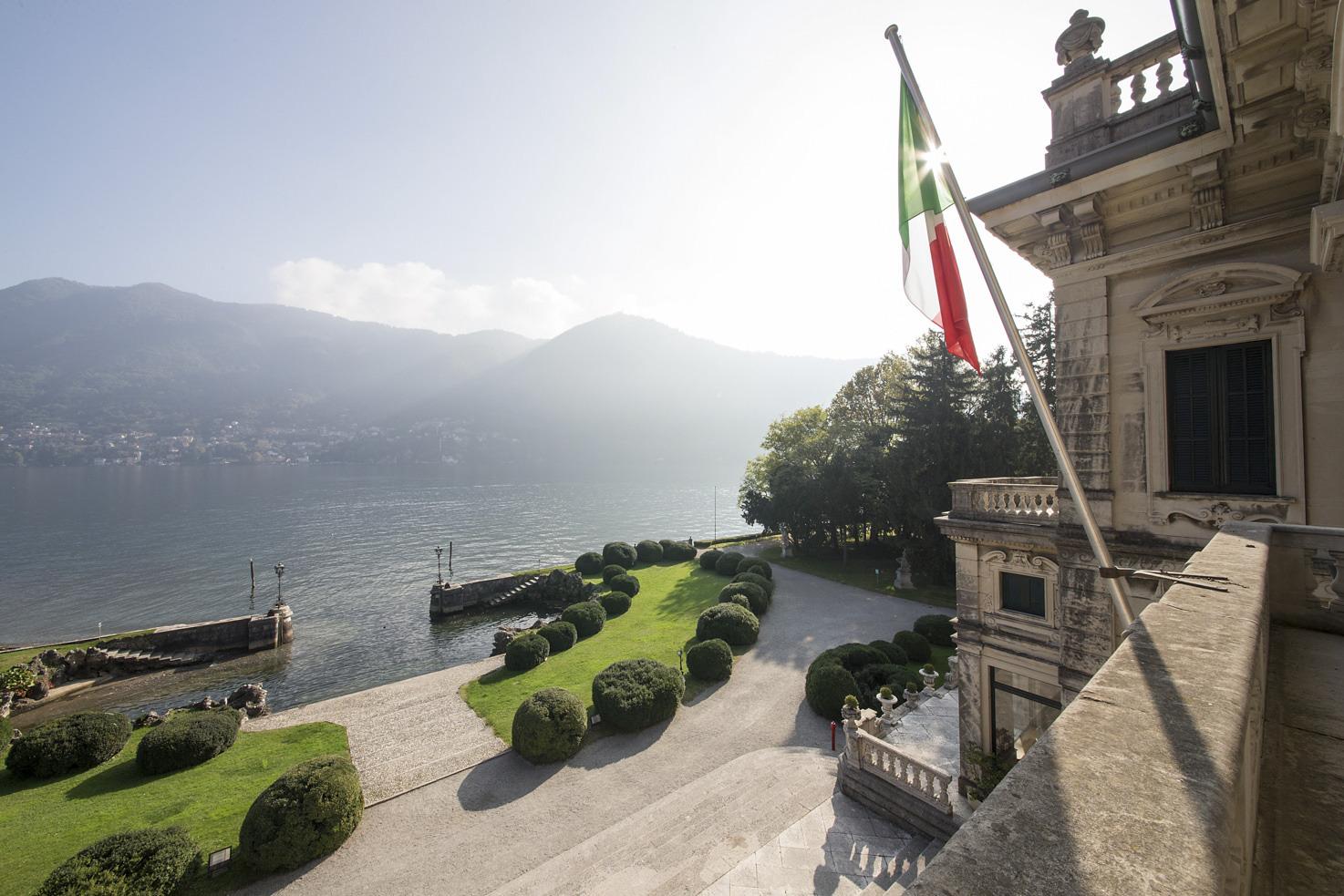 Terrace of Villa Erba on Lake Como