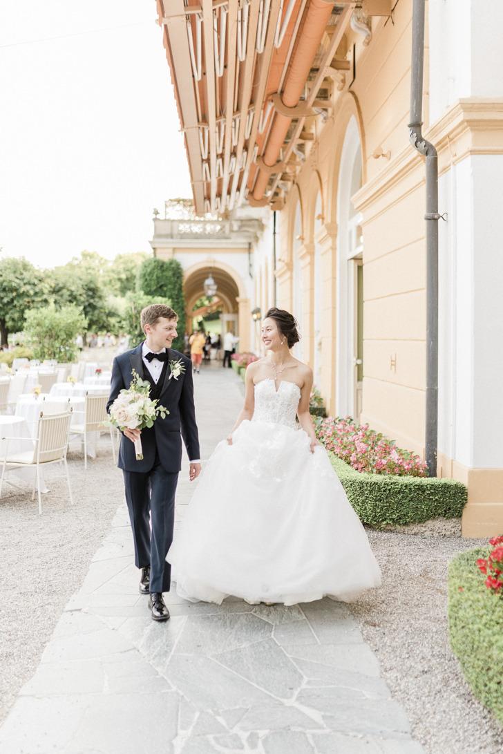 Bridal couple at Villa D'Este