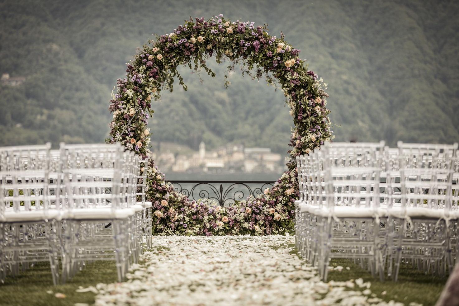 Flower arch for wedding ceremony
