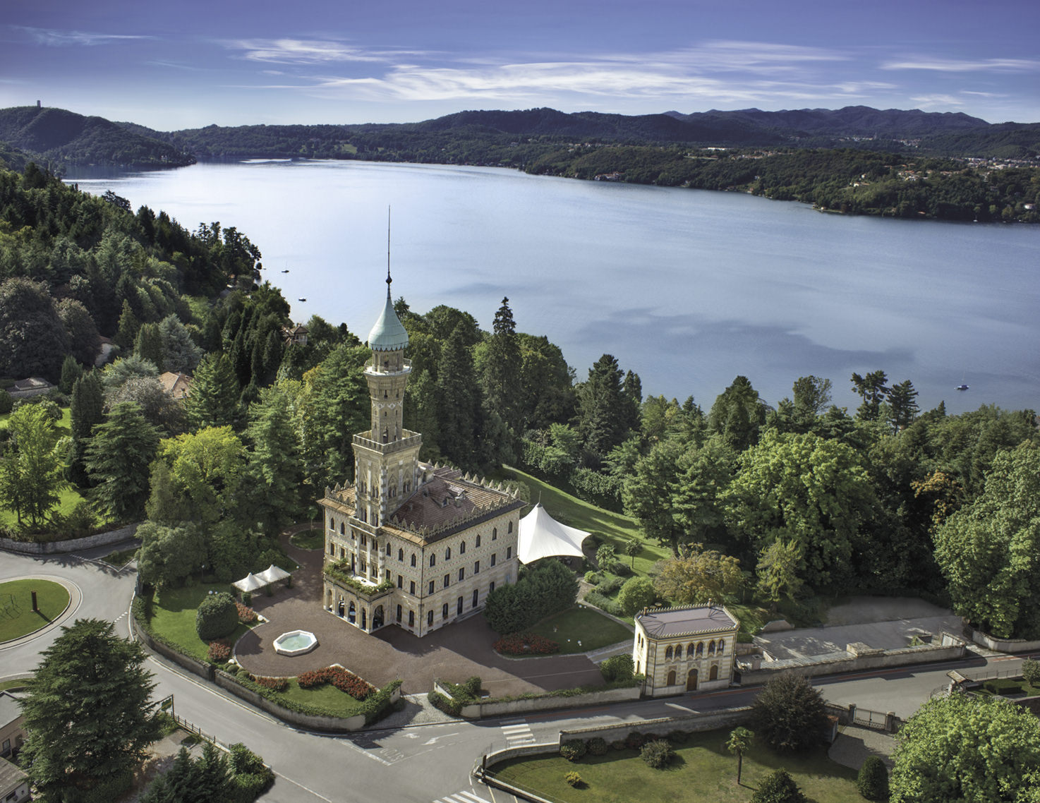 Aerial view of Villa Crespi on Lake Orta