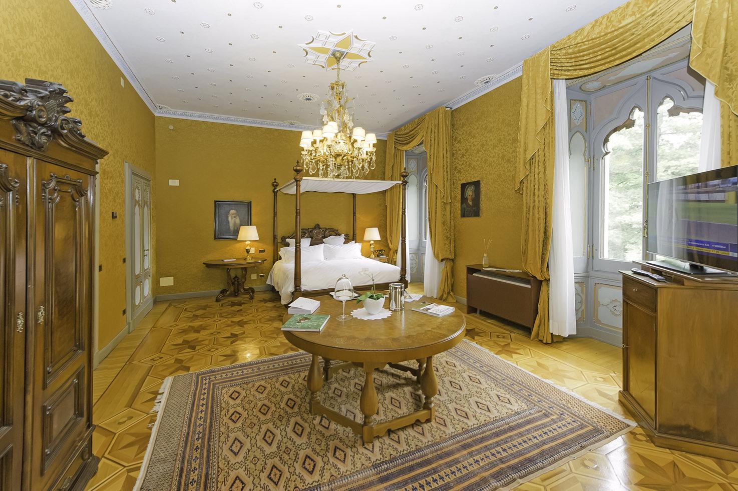 Deluxe bedroom at Villa Crespi