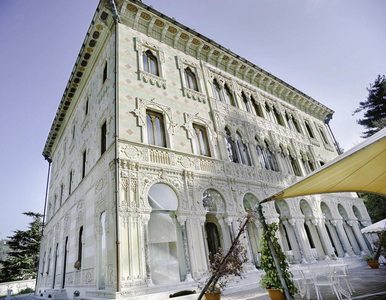 Façade of Villa Crespi on Lake Orta