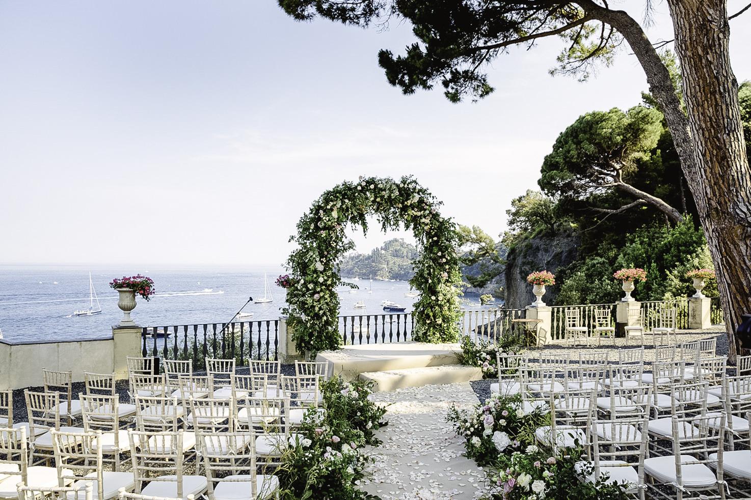 Wedding ceremony on a terrace at La Cervara