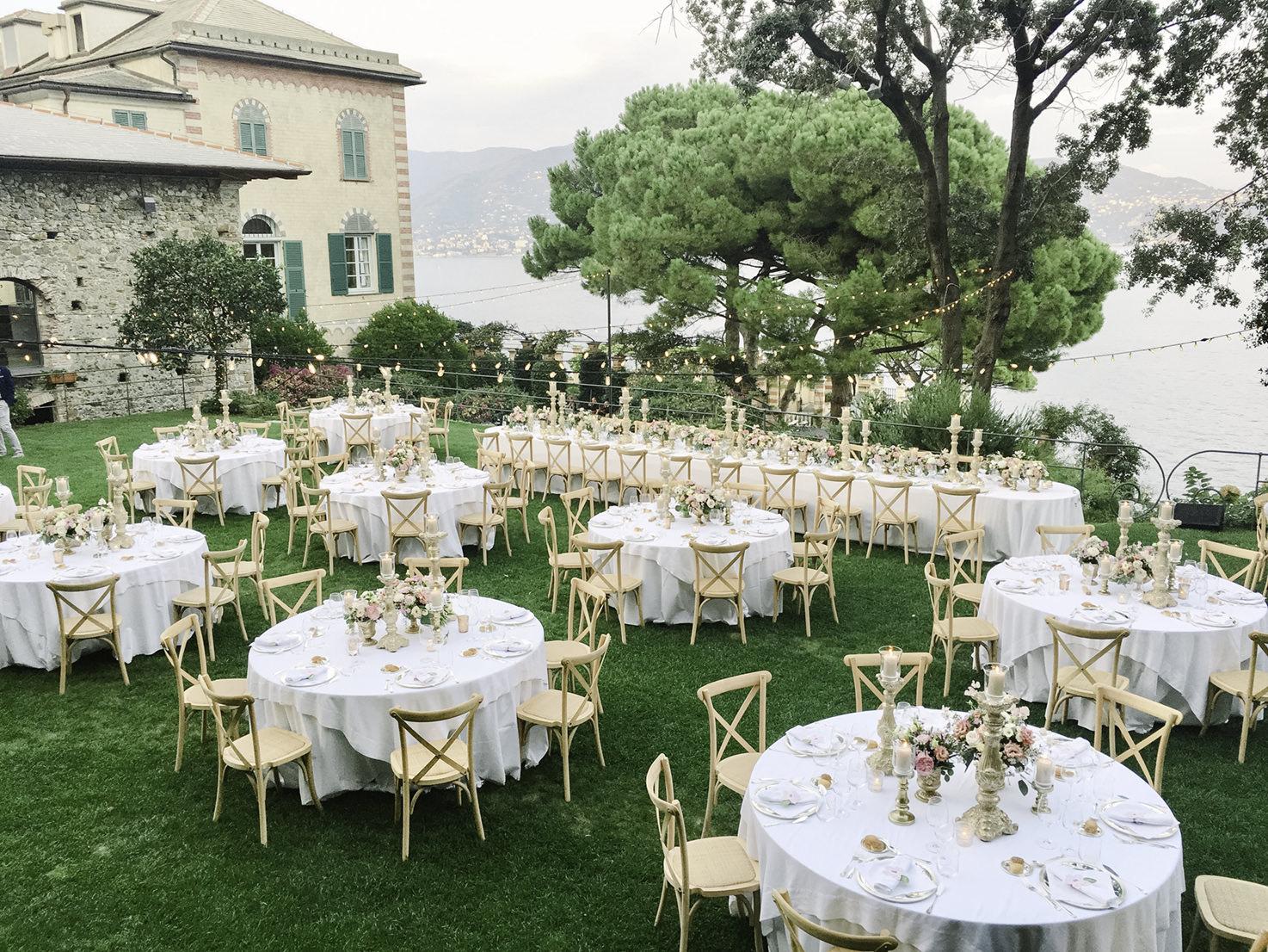 Wedding reception in the gardens of La Cervara