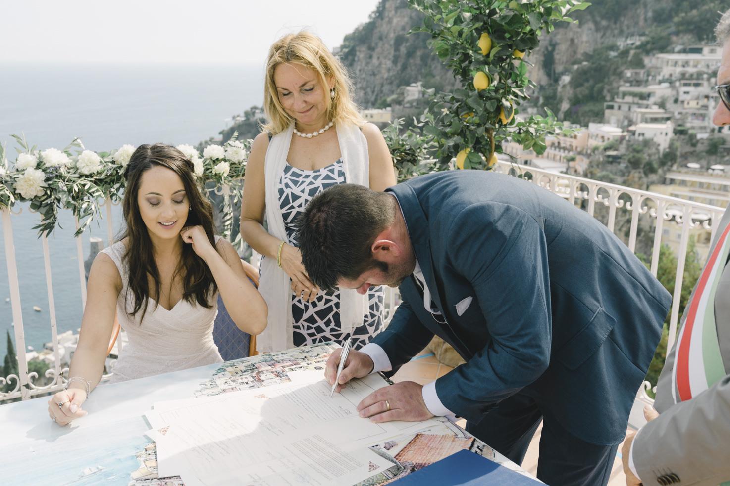 Signature of civil wedding