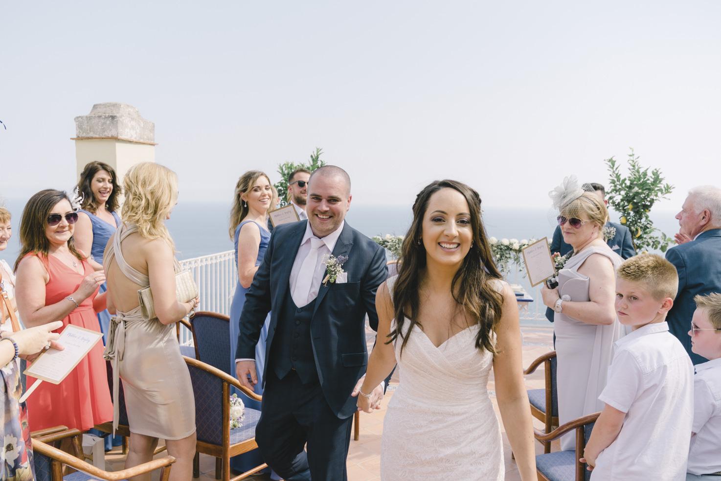 End of civil ceremony in Positano