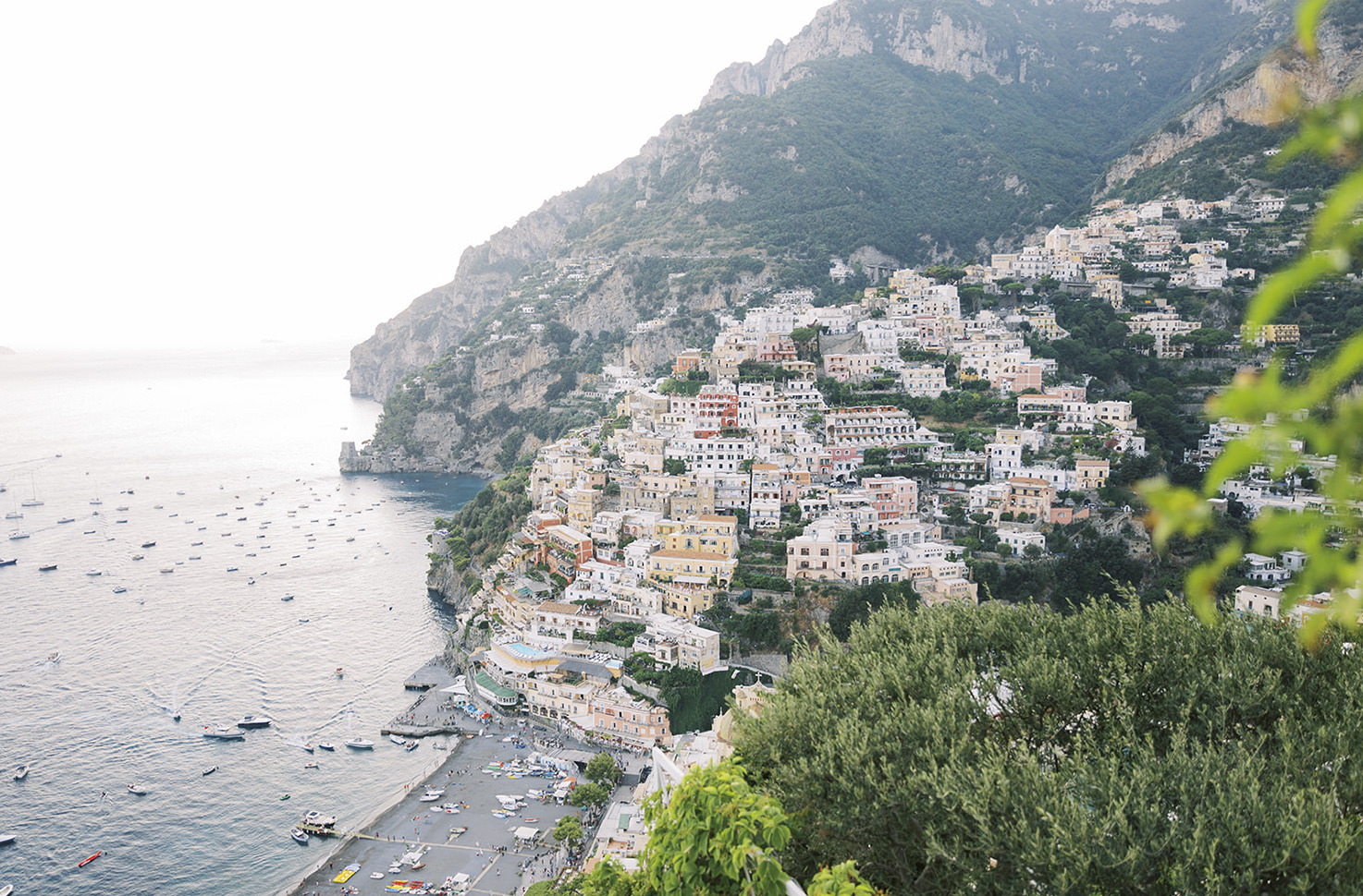 Panorama of Positano with sea view