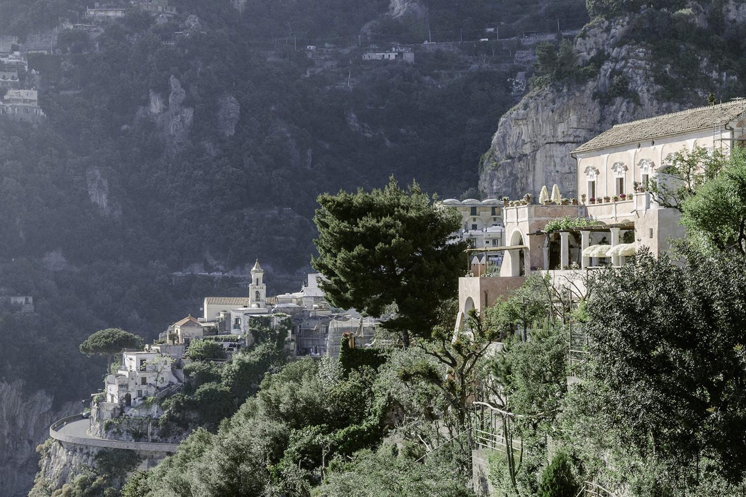 Aerial view of private villa in Positano