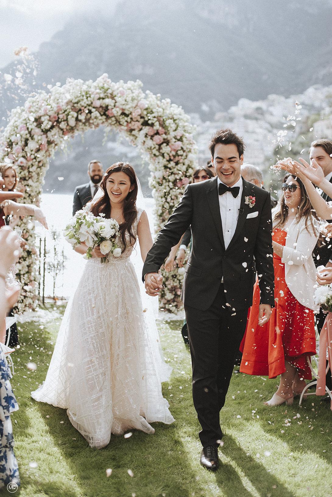Wedding recessional in Positano